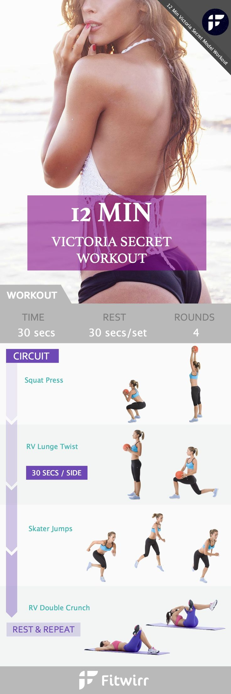 12-Minute Victoria's Secret inspired Workout - You may not be walking the runway like the Angels, but you can still benefit from this butt firming, leg toning, and ab flattening workout that whips your body into shape.