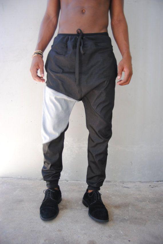 Mens Black Denim Drop Crotch Harem Pants / Denim door GAGTHREADS