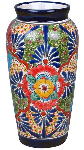 Cylindrical Talavera Vase Talavera Pottery Mexican