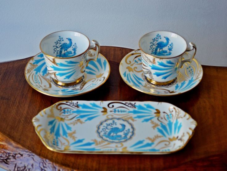 Excited to share the latest addition to my #etsy shop: Royal Chelsea, New Chelsea Demitasse Cups And Saucers, Pastry Tray, Blue Bird #blue #royalchelsea #birdofparadise #bluebird http://etsy.me/2Bogi1j