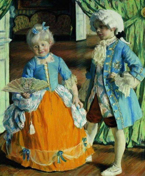 Children in the costumes |  Original painting by Boris Kustodiev