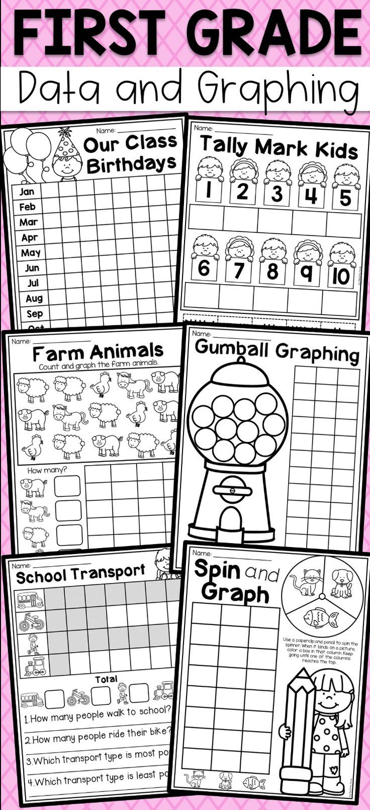 First Grade Data And Graphing Worksheets Distance Learning Graphing First Grade First Grade Worksheets Verb Activities For First Grade