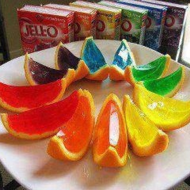 I wasn't sure where to place these - food or drinks... These are jello shots but could be done without the alcohol of course. Just half an orange and hollow it out and fill with the mixture, allow to set and then cut into quarters. Yum!