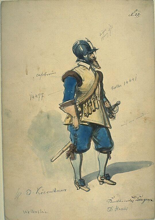 Kostümentwurf für die Figur eines Dragoners aus 'Wallenstein' von Friedrich von Schiller | Franz Gaul | Bildindex der Kunst & Architektur