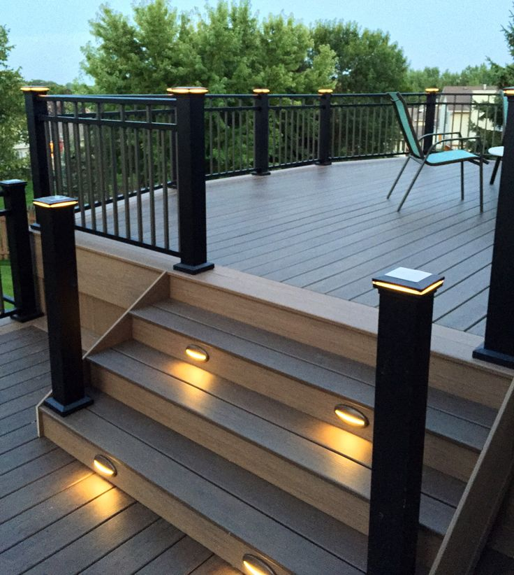 Trex Stair Light: Timbertech Deck With Stair Lighting And Lighted Post Caps