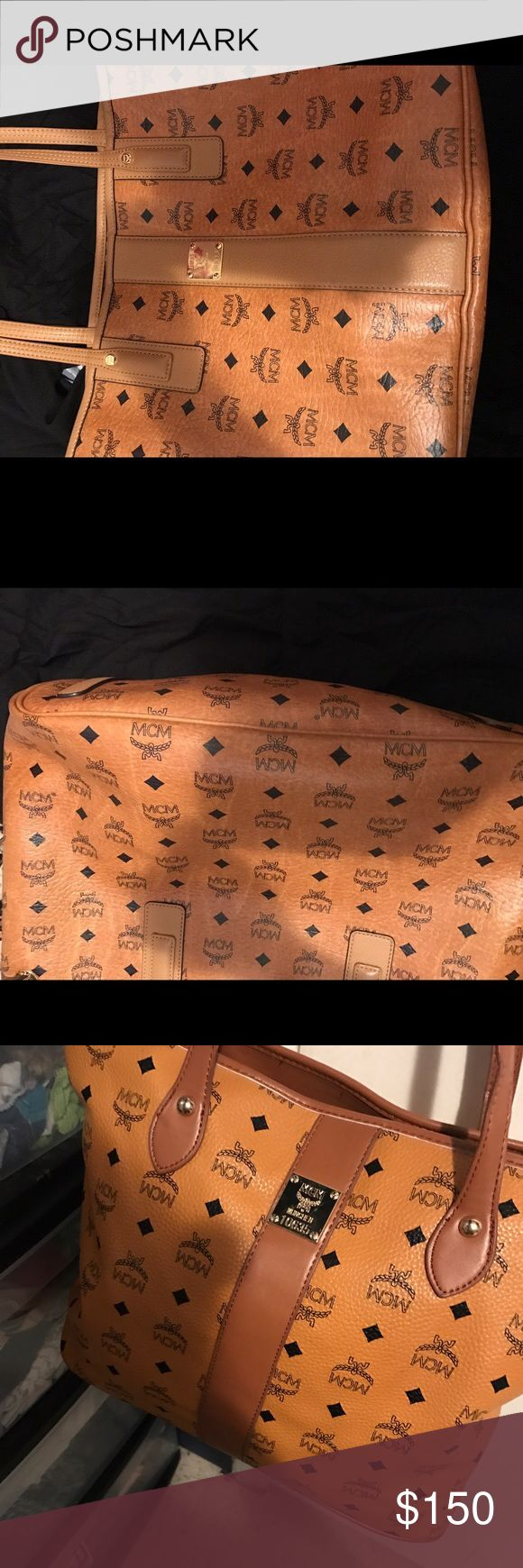 Mcm leather bag Mcm leather bag for sale without pouch.,. Willing to meet up. Neg MCM Bags Totes