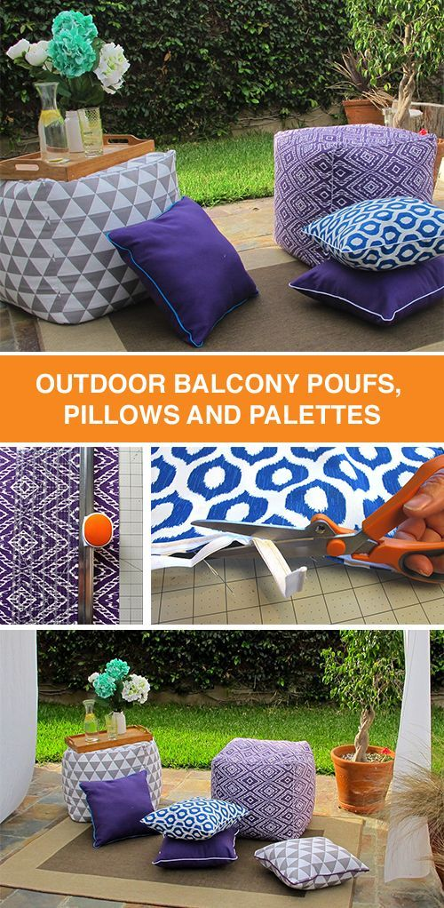 These outdoor pillows and poufs are super easy to make! Transform your balcony, patio or porch into an ultra-comfy lounge spot with this adorable DIY décor project.