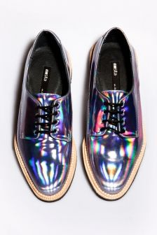 Holographic! Miista Zoe Leather Hologram Shoes in Iridescent Purple…