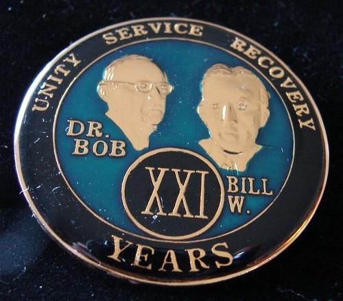 Alcoholics Anonymous 21 Year Anniversary Blue Tri Plate Medallion Bill w Dr Bob | eBay