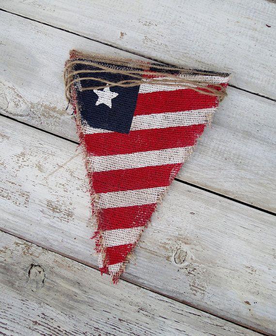 4th of July Patriotic Burlap Banner / Memorial by nhayesdesigns, $35.00