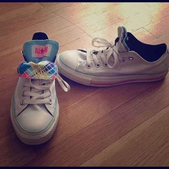 White and neon converse Lightly worn - great condition. Converse Shoes Sneakers