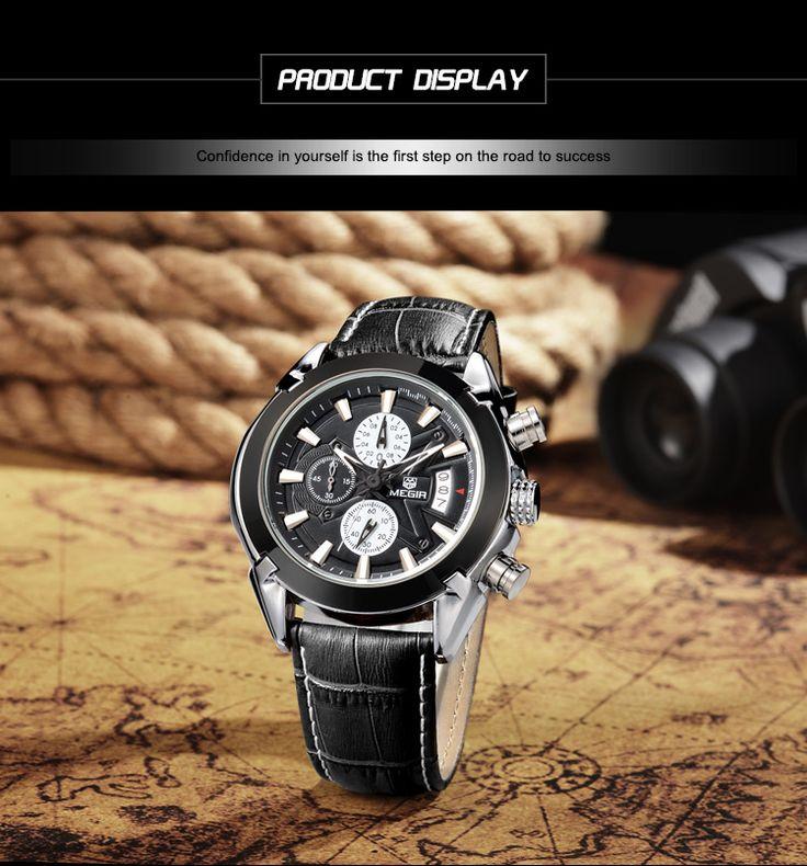 MEGIR Men's Waterproof Leather Band Sports Watch w/ Calendar - Black - Free Shipping - DealExtreme