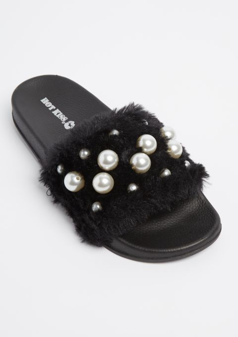 ea24b3eba61 Black Dotted Pearl Furry Slides