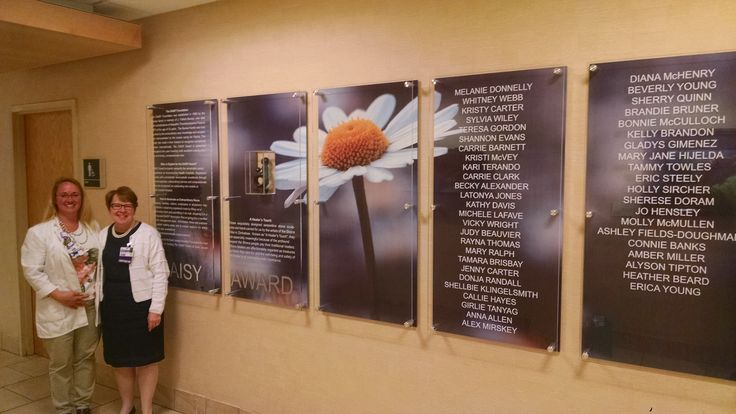 Saint Joseph Hospital in Lexington, KY created a beautiful DAISY recognition wall at their hospital that features a Healer's Touch sculpture and includes the names of their DAISY Honorees.  Pictured are DAISY Coordinator Melanie Sanguigni and Vice President of Nursing, Carol Dwyer
