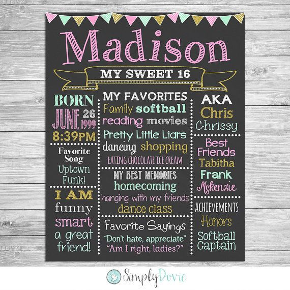 Sweet 16 Birthday Chalkboard Poster of Favorite by SimplyDovie