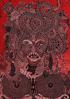 """Gorgona Souboj Titanů perokresba černá tuš, zlatá tempera KOH-I-NOOR, formát A2 Autor. Johana Hájková upraveno <a href=""""http://www.internationalartgallery.org/en/johana-hajkova/gorgona/id/2104-2/"""" rel=""""nofollow"""" target=""""_blank"""">www.international...</a>"""