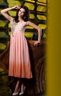 Dusty Pink Georgette Designer Kurti