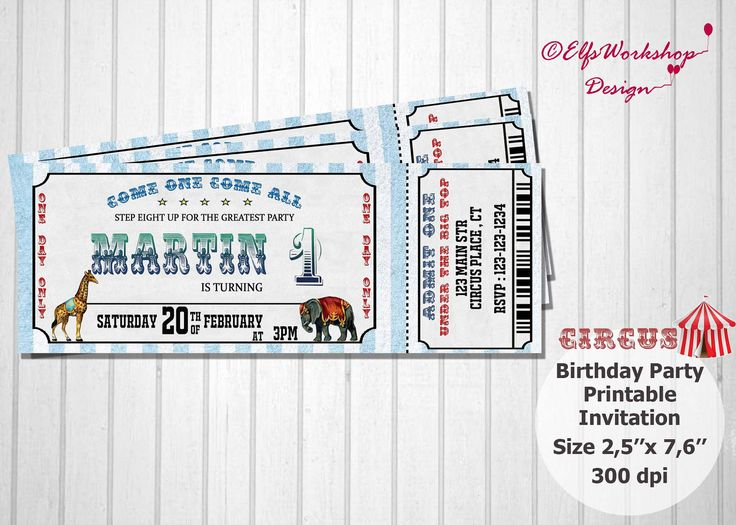Circus Invitation, Circus Ticket Invitation,Birthday Party Ticket , Circus Theme, Circus Animal, Personalized invitation,Ticket Party Invite by ElfsWorkshopDesign on Etsy