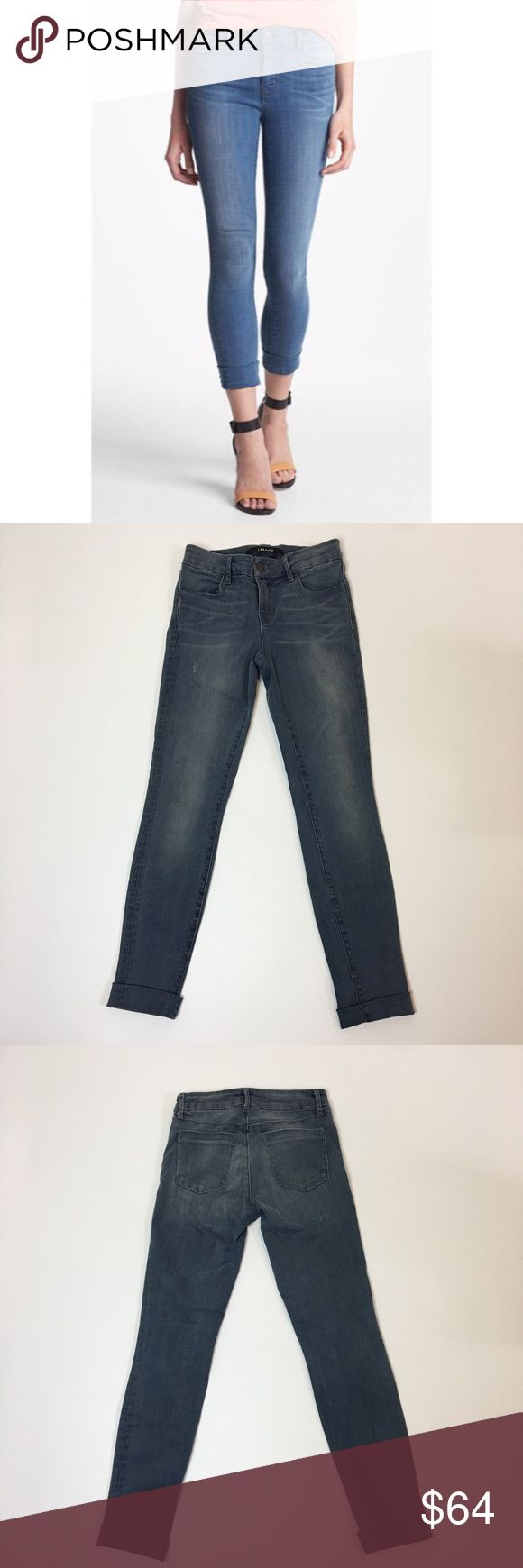J Brand Anja cuffed crop J Brand skinny cropped jeans with cuffed hem. Super stretchy.  Lightly faded and whiskered along front pockets.  Stockholm wash. J Brand Jeans Skinny
