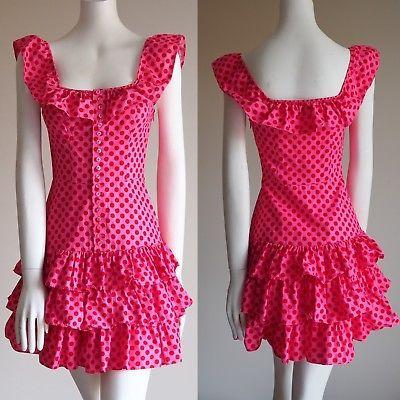 RARE-Betsey-Johnson-Valentine-Pink-W-Red-Polka-Dot-Ruffle-Tiered-Twirl-Dress-2