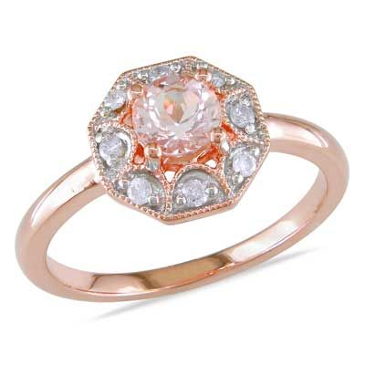 5.0mm Morganite and 0.12 CT. T.W. Diamond Octagonal Ring in Rose Rhodium Plated Sterling Silver  - Peoples Jewellers