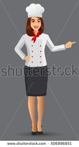 Chef woman illustration, cartoon cook icons design template elements for your brochure, banner and web.