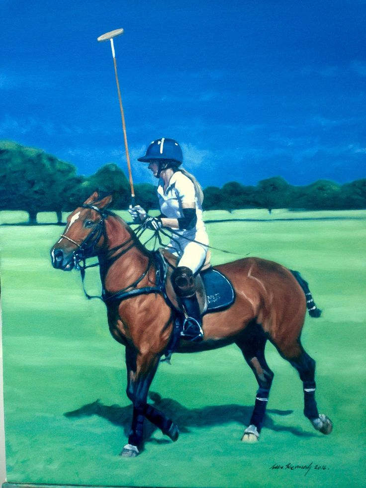 Alison Ellouze riding Las Heras at the Royal County of a Berkshire's Polo Club.