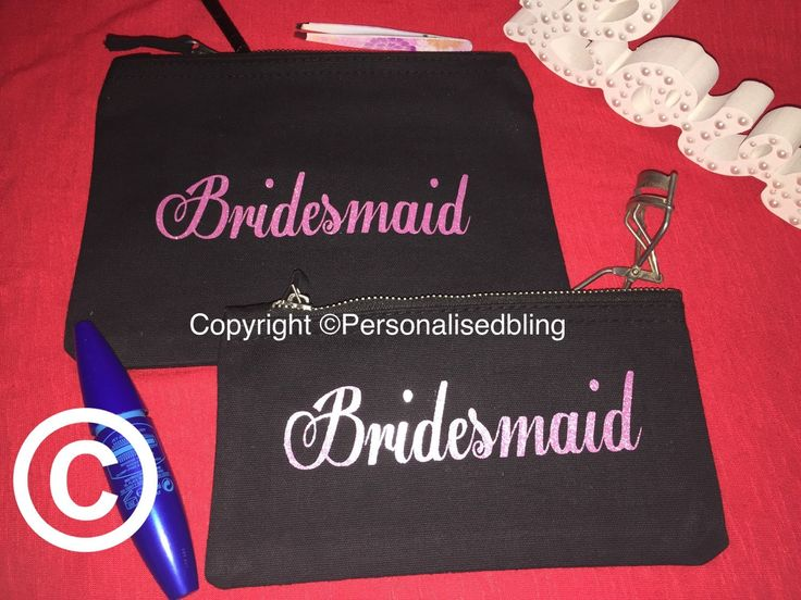make up bridesmaid bag canvas zip personalised black pink make-up bag wedding gift present bride cosmetic bag toiletry bag purse by personaliseddiamante on Etsy
