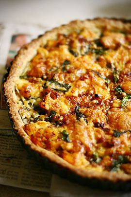 pumpkin and spinach tart with feta cheese....