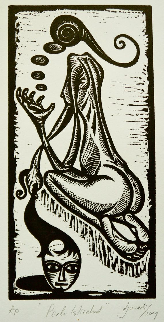 Relax - Unique Woodcut Print on Etsy, $25.00 AUD