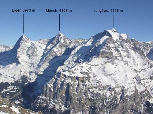 The big 3 mountains – the Eiger, Mönch and Jungfrau