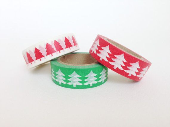 Washi Tape motivo alberelli di Natale bianchi su base di Partytude