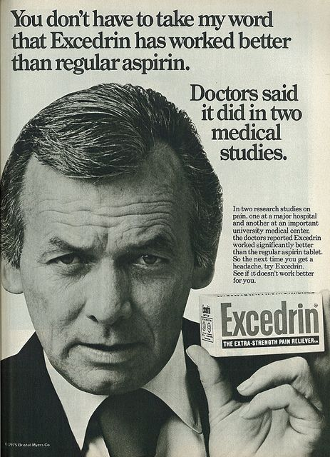 At some point, you'll probably get a headache. As a bonus, Excedrin has as much caffeine as a cup of coffee. //// 1975 Excedrin Ad, with Actor David Janssen | Flickr - Photo Sharing!