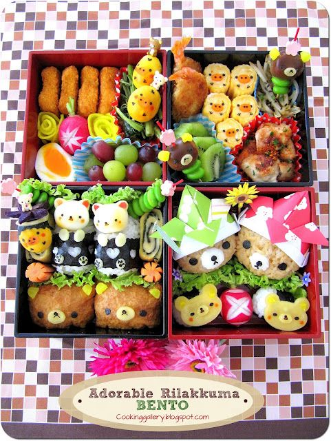 Adorable! (I wonder how much time these supermoms spend on making Bento like this everyday. Do they cook other meals? Clean the house? Laundry? :D )