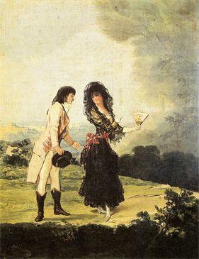 Coloquio Galante por F. De Goya, 1793-1797. 41 x 31 cm. Se ha especulado con la posibilidad de que los personajes fueran Goya y la Duquesa de Alba, pues la mujer lleva el mismo atuendo que ella en el retrato que Goya le hizo vestida de maja y es parecida a la mujer de los álbumes de Sanlúcar y Madrid./ The speculations say that they could be Goya and the Duchess of Alba judging by the maja's outfit, the same that wears the Duchess in the portrait made by Goya.