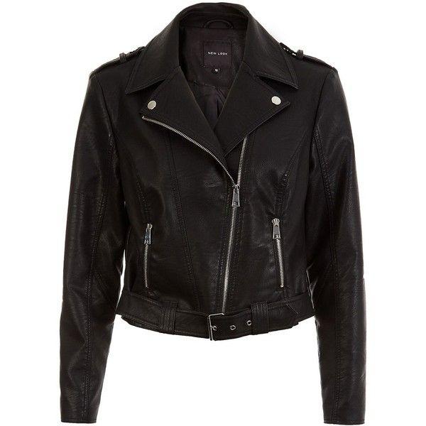 New Look Black Leather-Look Belted Biker Jacket (3.330 RUB) ❤ liked on Polyvore featuring outerwear, jackets, vegan moto jacket, vegan leather motorcycle jacket, fake leather jacket, faux leather jacket and vegan biker jacket