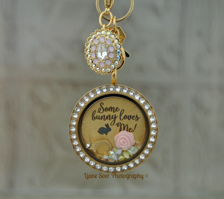 Origami Owl - Hop to it and create a beautiful springtime Locket look by pairing this Plate with a Large Gold Twist Living Locket™ with Swarovski® Crystals and a Limited Edition Gold Vintage Dangle at lianesoer.origamiowl.com #OrigamiOwl #SomeBunnyLovesMe #locket #EasterGift