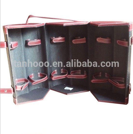 wine box, wine case, wine bottle tube for 6 bottles wholesale pu leather Handmade Vintage wine carrier