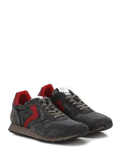 Voile Blanche - Sneakers - Uomo - Sneaker in camoscio, pelle e tessuto tecnico con suola in gomma. Tacco 30, platform 15 con battuta 15. - GRIGIO\ROSSO - € 198.00