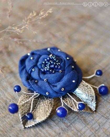 Брошь из ткани «Синяя роза». Купить брошь ручной работы. Купить из ткани. Ольга Кугаевская Bijoy. Ярмарка Мастеров.