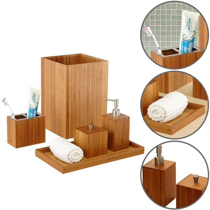 Bathroom Bamboo Vanity Set Home 5 Piece Modern Dispenser Toothbrush Holder Bath #BathroomBambooVanitySet