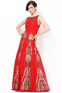 Red Gown With Beautiful Swarovski Work  Rs. 27,300