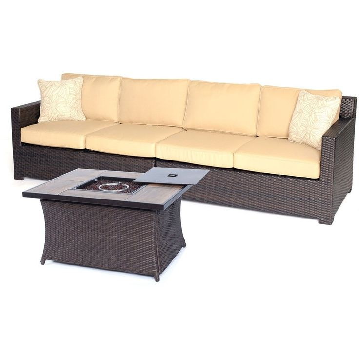 Hanover Metro3pc FP Set: Loveseat, Woven Fire Pit Cffe Tbl with Wood Grain Tile