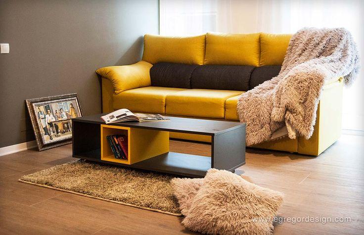amenajare si mobilare apartament cu doua camere canapea tapitata galben