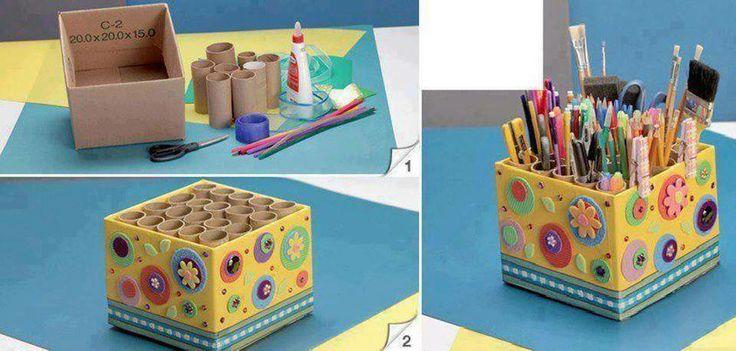 ORGANIZADOR de escritorio. RECICLANDO una caja de cartón y tubos de rollos de papel puedes hacer este práctico organizador para ordenar: lápices, pinceles, crayones, tijera, trincheta y mucho más!
