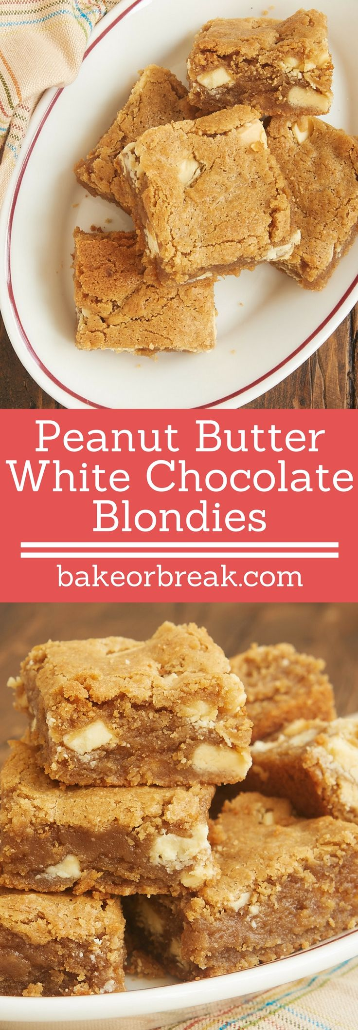 Peanut Butter White Chocolate Blondies are so soft, nutty, and delicious. One little extra ingredient makes them irresistible! - Bake or Break ~ http://www.bakeorbreak.com