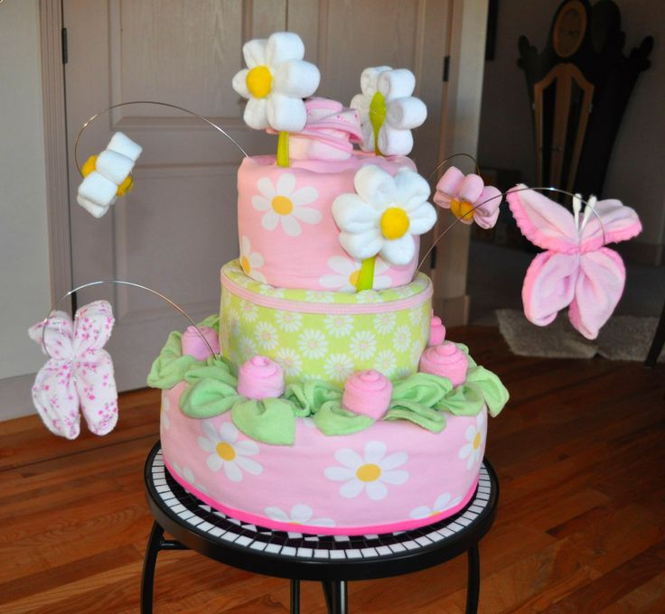 Directions for making a baby shower diaper cake