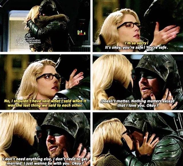 Oliver and Felicity reuniting in Crisis on Earth-X.