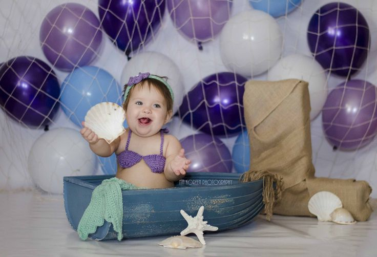 First birthday ONE under the sea mermaid balloons purple blue white OUTFIT: Long Haul Accessories on ETSY
