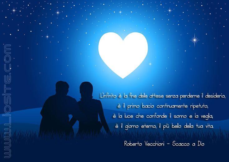 """Roberto Vecchioni - L'infinito è ..  L'infinito è la fine delle attese senza perderne il desiderio, è il primo bacio [..] Dal libro di Roberto Vecchioni """"Scacco a Dio"""".  #RobertoVecchioni, #Dio, #liosite, #citazioniItaliane, #frasibelle, #ItalianQuotes, #Sensodellavita, #perledisaggezza, #perledacondividere, #GraphTag, #ImmaginiParlanti, #citazionifotografiche,"""